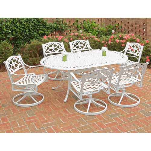 Home Styles Furniture Biscayne White 72-Inch Oval Table w/ Six Swivel Chairs