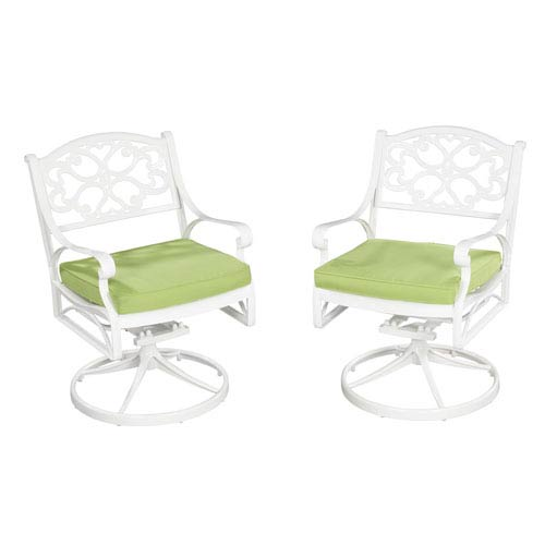 Biscayne White 42-Inch Table w/ Four Green Cushioned Swivel Chairs