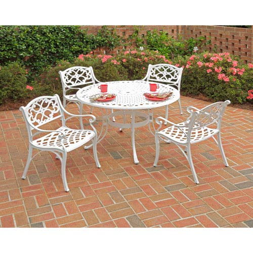 Biscayne White 48-Inch Table w/ Four Green Cushioned Arm Chairs
