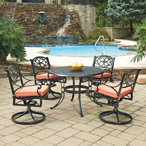 Biscayne Black Round 5 Piece Outdoor Dining Table and 4 Swivel Rocking Chairs