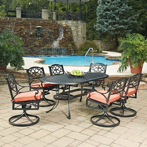 Home Styles Furniture Biscayne Black Oval 7 Piece Outdoor Dining Table And  6 Swivel Rocking Chairs