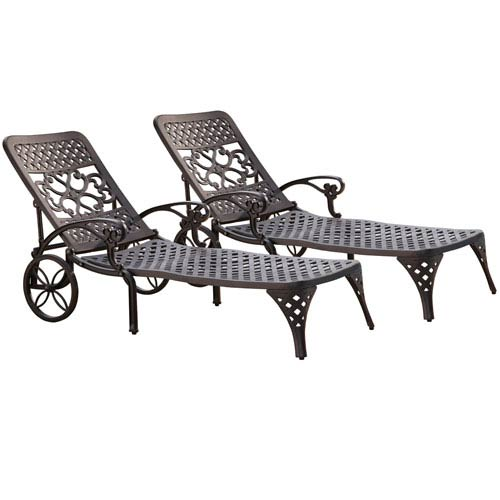 Home Styles Furniture Biscayne Black Chaise Lounge Chairs, Set of Two