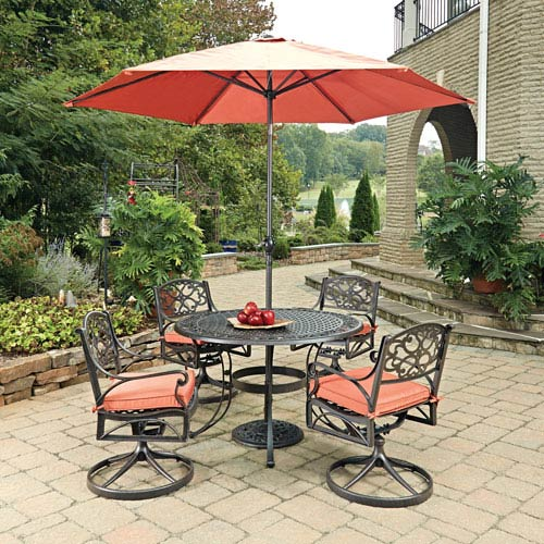 Biscayne Rust Bronze Round 7 Piece Outdoor Dining Table, 4 Swivel Rocking Chairs