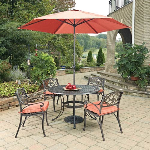 Biscayne Rust Bronze Round 7 Piece Outdoor Dining Table, 4 Arm Chairs with Cushions and Umbrella with Base