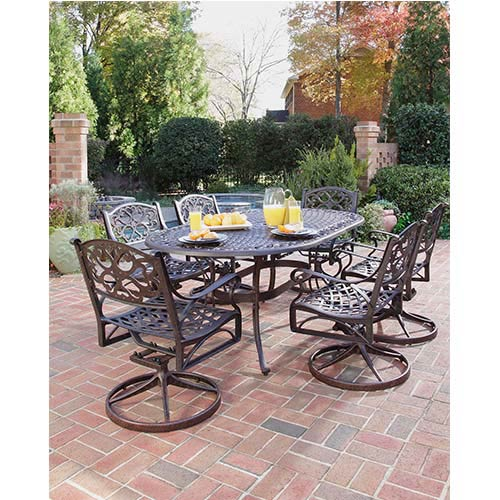 Home Styles Furniture Biscayne Rust Bronze Outdoor Seven Piece Dining Set