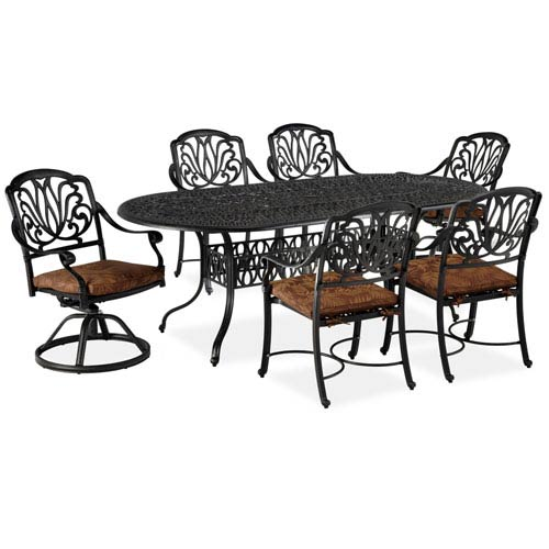 Home Styles Furniture Floral Blossom Gray Seven-Piece Dining Set with Oval Table