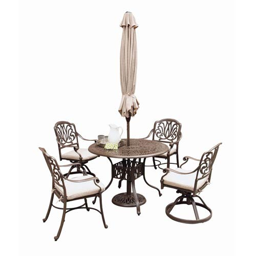 Home Styles Furniture Floral Blossom Taupe Outdoor 42-Inch Round Table with Two Swivel and Arm Chairs Dining Set with