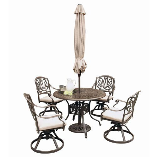 Home Styles Furniture Floral Blossom Taupe Outdoor 48-Inch Round Table with Four Swivel Chairs Dining Set with Umbrella