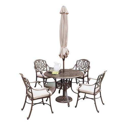 Home Styles Furniture Floral Blossom Taupe Outdoor 48-Inch Round Table with Four Arm Chairs Dining Set with Umbrella