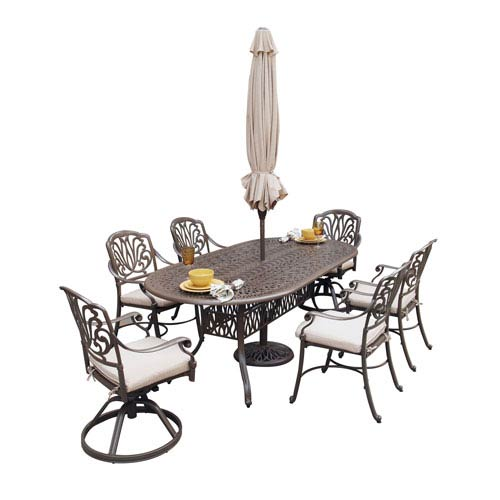 Floral Blossom Taupe Oval Outdoor Table and Six Arm Chairs Dining Set with Umbrella