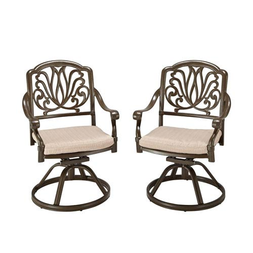 Home Styles Furniture Floral Blossom Taupe Outdoor Swivel Chair