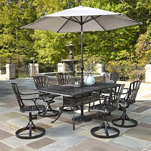 Home Styles Furniture Largo Charcoal 7 Piece Dining Set with Umbrella