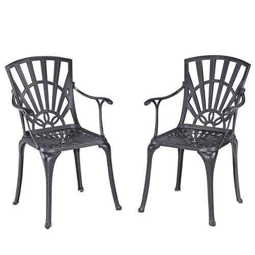 Home Styles Furniture Largo Charcoal Dining Chair Pair with Cushions