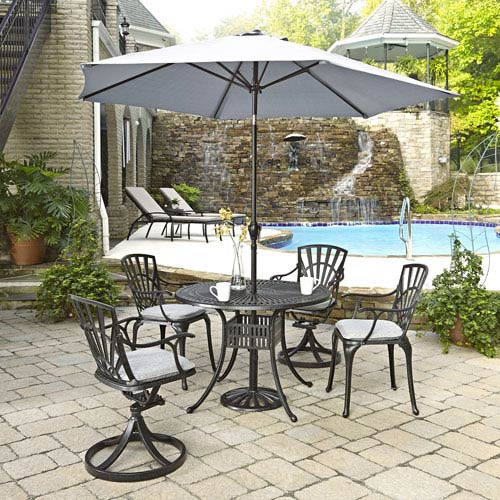 Home Styles Furniture Largo Charcoal 5 Piece Dining Set with Umbrella and Cushions