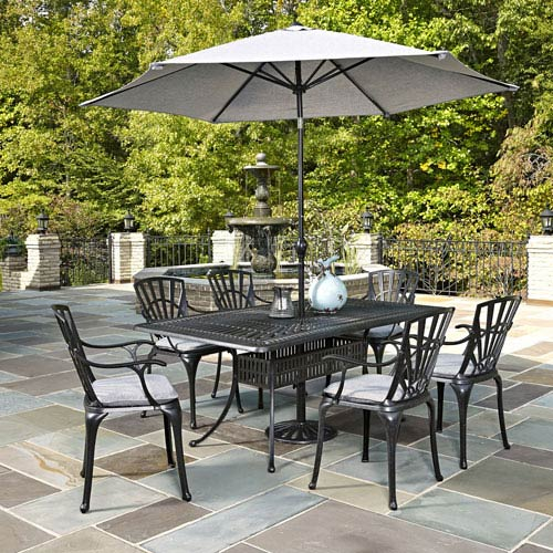 Home Styles Furniture Largo Charcoal 7 Piece Dining Set with Umbrella and Cushions
