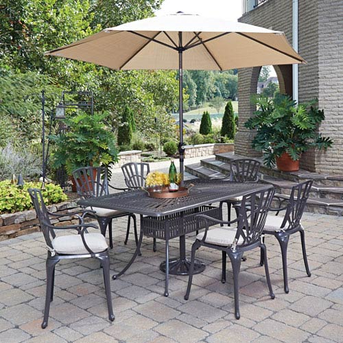 Largo Taupe 71.75 x 42.25-Inch 7-Piece Outdoor Dining Set with Umbrella and Cushions