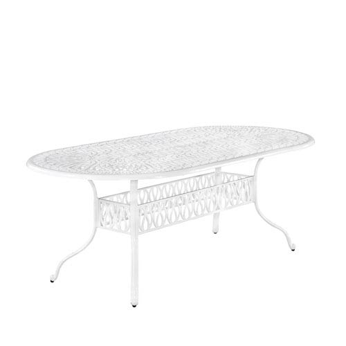 Floral Blossom White 84 x 42.25 Oval Outdoor Dining Table