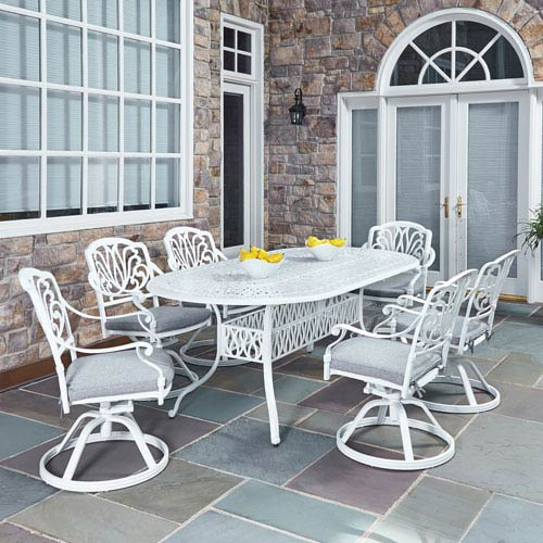 White Outdoor Patio Furniture.Home Styles Furniture Floral Blossom White 84 X 42 25 Inch 7 Piece Outdoor Dining Set