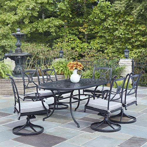 Athens Charcoal 71.25 x 41.5-Inch 7-Piece Outdoor Dining Set