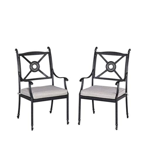 Athens Charcoal Outdoor Chair with Cushion, Set of 2