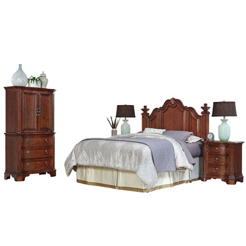 Santiago Cognac Queen/Full Headboard, Two Night Stands, and Door Chest