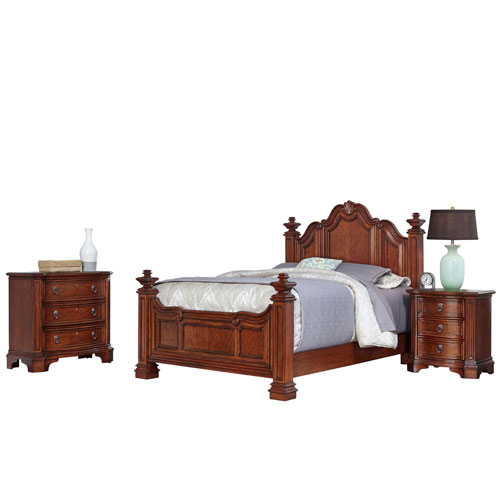 Santiago Cognac Queen Bed, Night Stand, and Chest