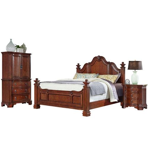 Santiago Cognac Queen Bed, Night Stand, and Door Chest