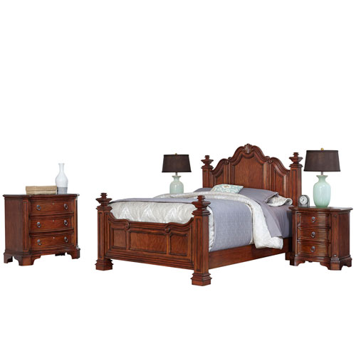 Santiago Cognac Queen Bed, Two Night Stands, and Chest