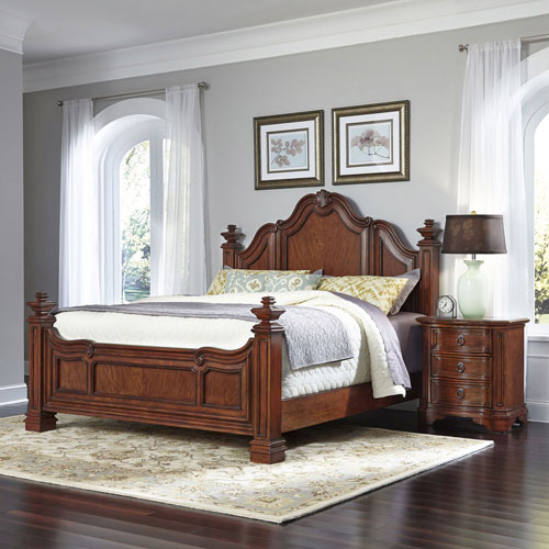 Home Styles Furniture Santiago Cognac King Bed and Night Stand