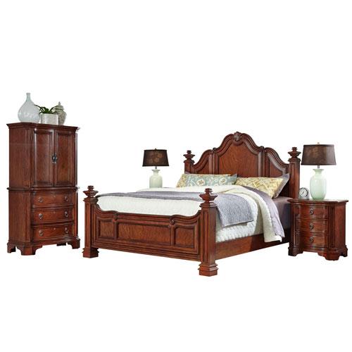 Santiago Cognac King Bed, Two Night Stands, and Door Chest