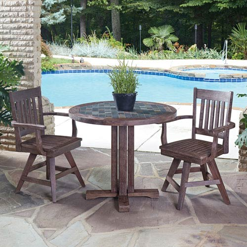Morocco Slate 36-Inch 3-Piece Outdoor Dining Set
