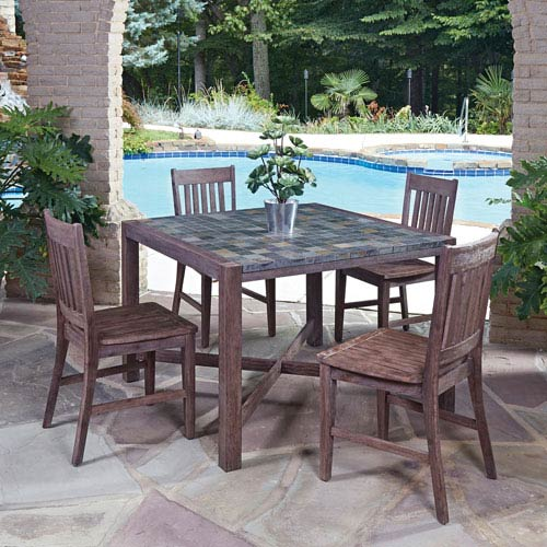 Home Styles Furniture Morocco Slate 43.5-Inch 5-Piece Outdoor Dining Set