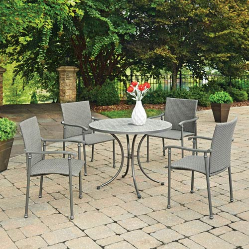 Home Styles Furniture Umbria Concrete Tile 5 Piece Round Outdoor Table And 4 Chairs