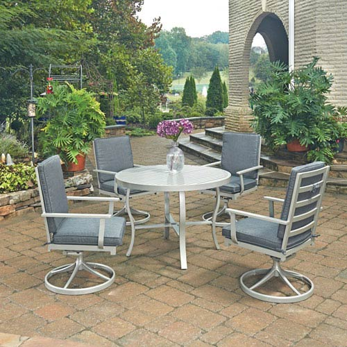 Home Styles Furniture South Beach 5 Piece Round Outdoor Dining Table and 4 Swivel Rocking Chairs