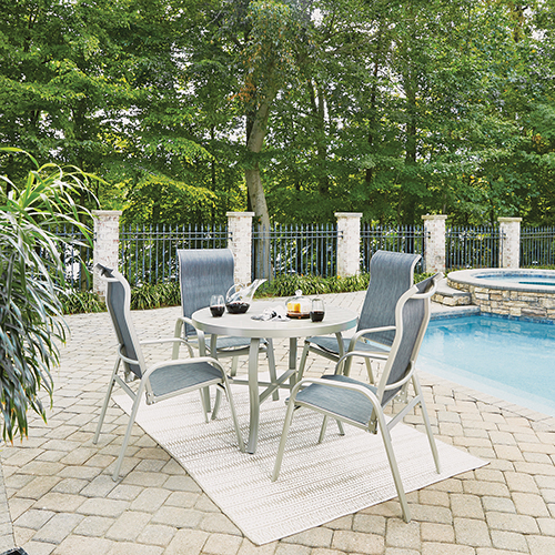 Home Styles Furniture South Beach 5 Piece Round Outdoor Dining Table and 4 Chairs