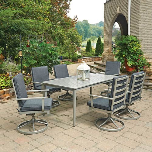 Home Styles Furniture South Beach 7 Piece Rectangular Outdoor Dining Table and 6 Swivel Rocking Chairs