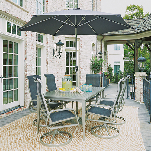 Home Styles Furniture South Beach 9 Piece Rectangular Outdoor Dining Table with 6 Swivel Rocking Chairs and Umbrella with