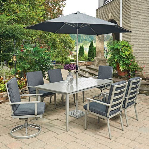 Home Styles Furniture South Beach 9 Piece Rectangular Outdoor Dining Table  With 4 Arm Chairs And