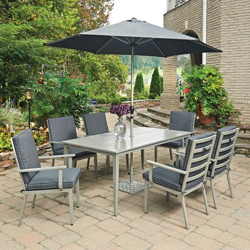 South Beach 9 Piece Rectangular Outdoor Dining Table- 6 Chairs with Umbrella and Base