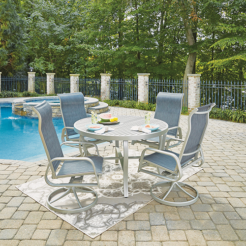 South Beach 5 Piece Round Outdoor Dining Tableand 4 Swivel Rocking Chairs