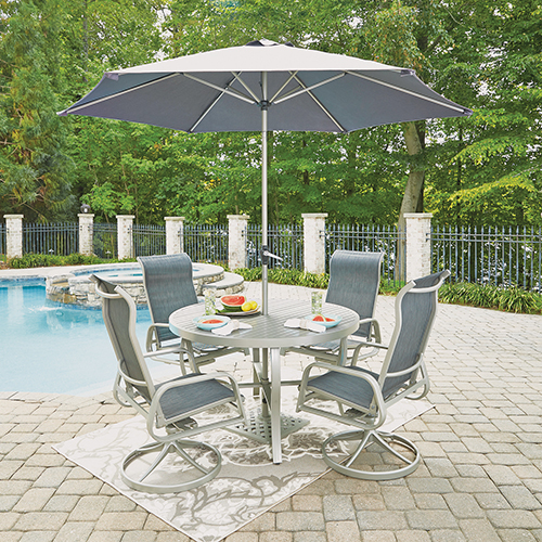 Home Styles Furniture South Beach 7 Piece Round Outdoor Dining Table and 4 Swivel Rocking Chairs with Umbrella and Base