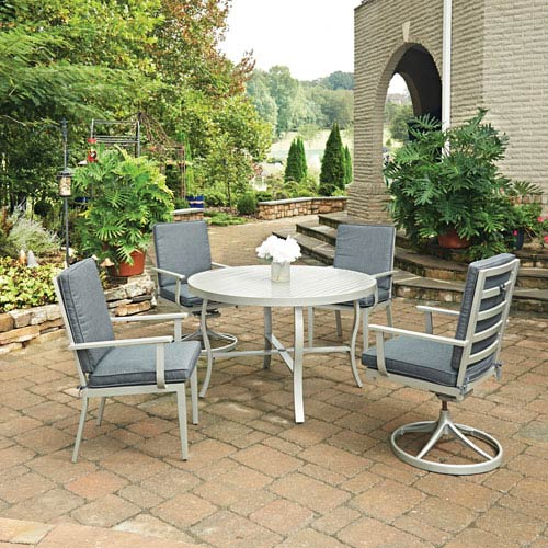 Home Styles Furniture South Beach 5 Piece Round Outdoor Dining Table with 2 Swivel Rocking Chairs and 2 Arm Chairs