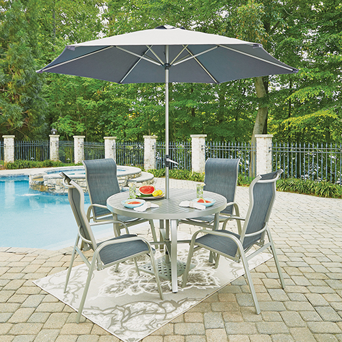 Home Styles Furniture South Beach 7 Piece Round Outdoor Dining Table And 4  Chairs With Umbrella