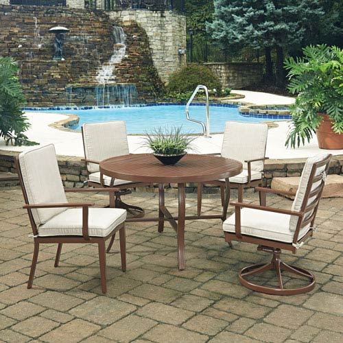 Key West 5 Piece Round Outdoor Dining Table with 2 Swivel Rocking Chairs and 2 Arm Chairs