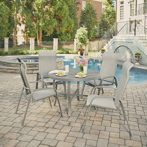 Home Styles Furniture Daytona 5 Piece Round Outdoor Dining Table and 4 Chairs
