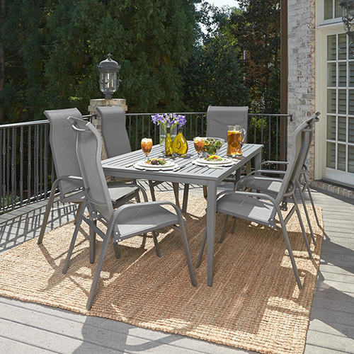 Home Styles Furniture Daytona 7 Piece Rectangular Outdoor Dining Table and 6 Chairs