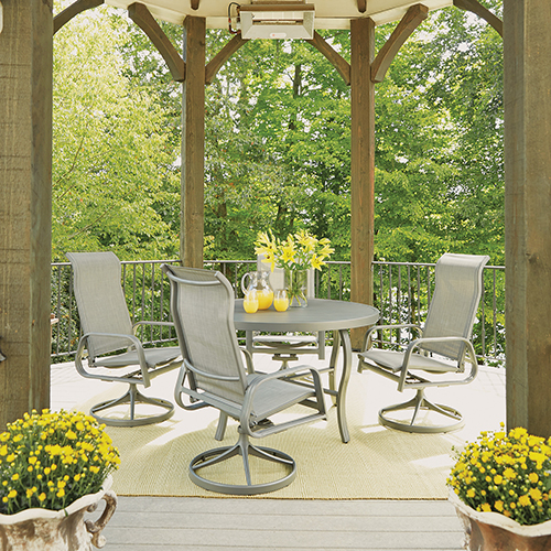Home Styles Furniture Daytona 5 Piece Round Outdoor Dining Table and 4 Swivel Rocking Chairs