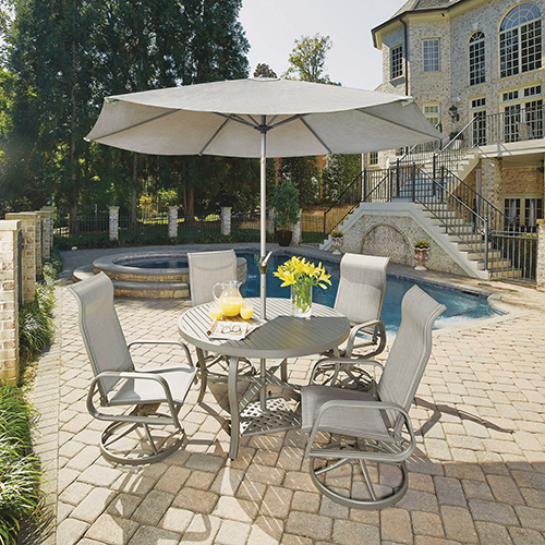 Home Styles Furniture Daytona 7 Piece Round Outdoor Dining Table and 4 Swivel Rocking Chairs with Umbrella and Base