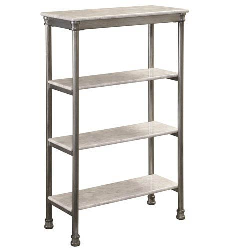 Home Styles Furniture The Orleans Gray Powder-Coated Steel and Faux Marble Four Tier Shelf