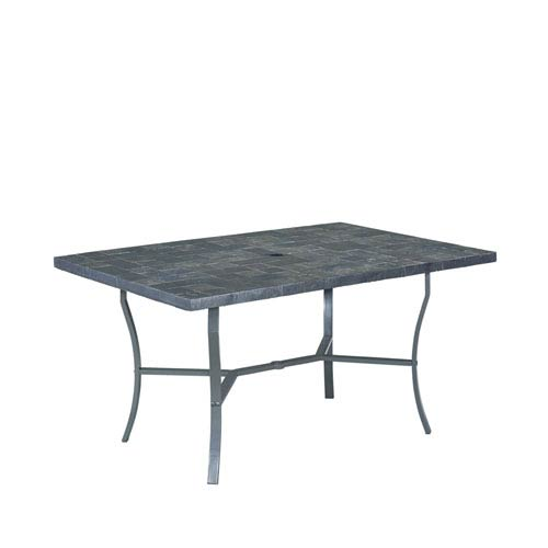 Home Styles Furniture Stone Black 60 X 40 Slate Tile Top Outdoor Dining Table
